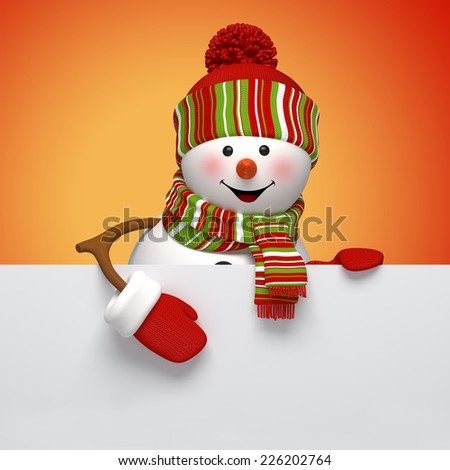 3d snowman banner, winter holiday symbol, Christmas greeting card template