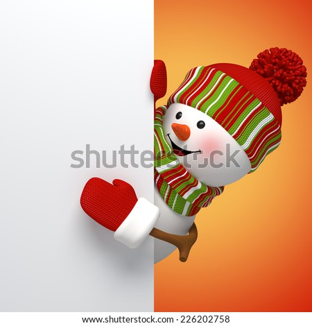 3d snowman banner, winter holiday symbol, festive template - stock photo