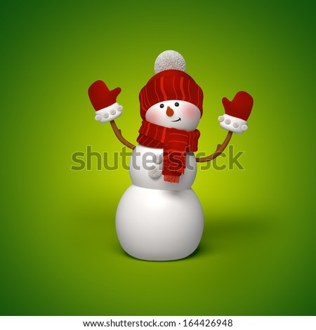 3d snowman character, green background, Christmas greeting  - stock photo