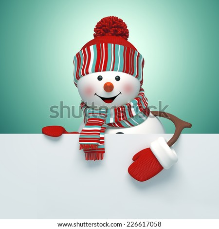 3d snowman holding holiday blank banner template, Christmas illustration - stock photo