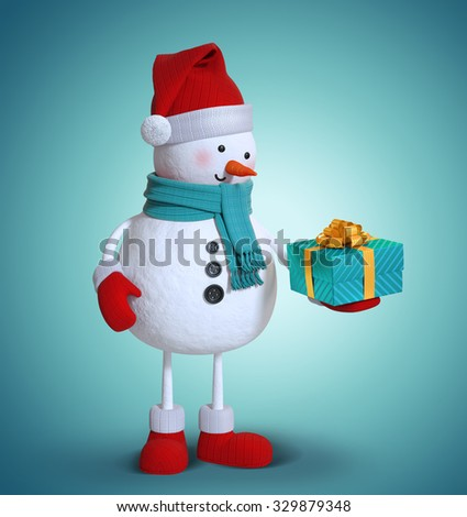 3d snowman holding wrapped gift box, Christmas clip art - stock photo