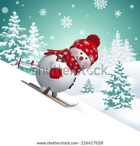 3d snowman skiing, holiday outdoor activity, winter sports illustration, snowfall, forest landscape - stock photo