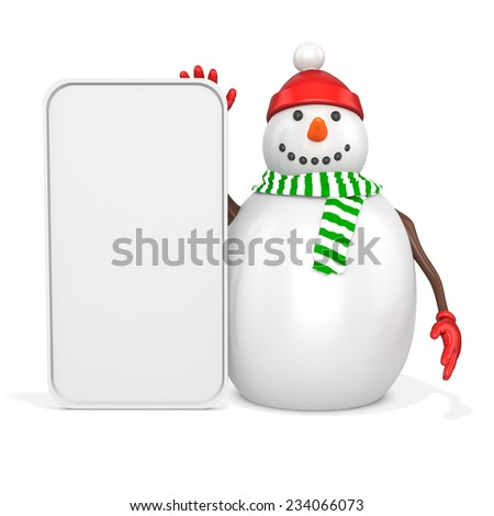 3d snowman with big blank banner  on white background