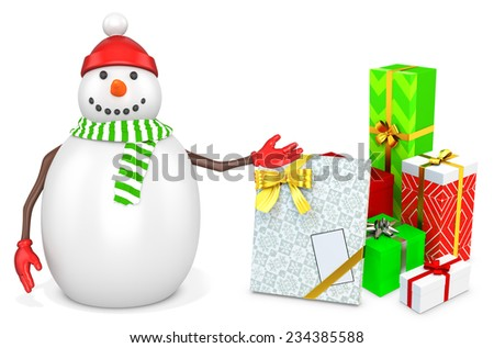 3d snowman with gift boxes  on white background