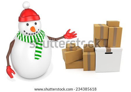 3d snowman with parcel boxes  on white background - stock photo