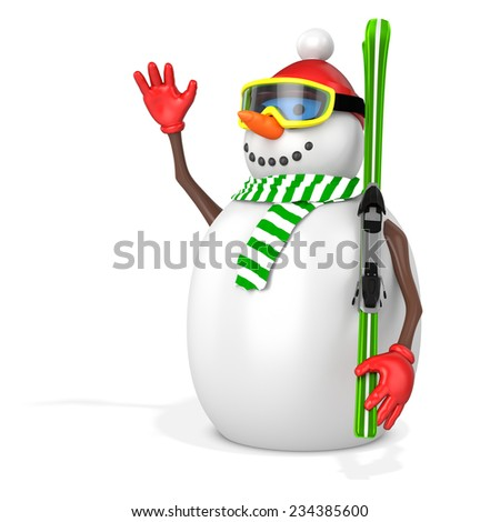3d snowman with skis  on white background - stock photo
