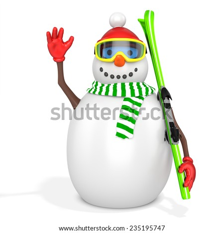 3d snowman with skis  on white background