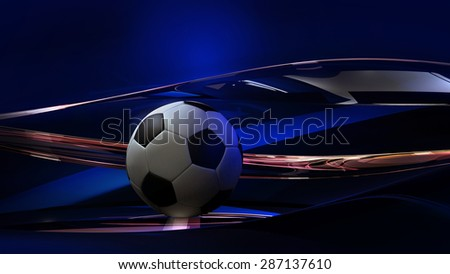 3D Soccer Ball Abstract Glass Background, Realistic render (3D Render, Raster) - stock photo