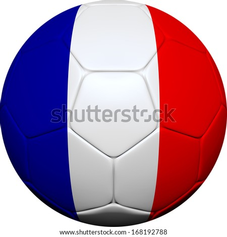 3d soccer ball design with French flag on white background. - stock photo