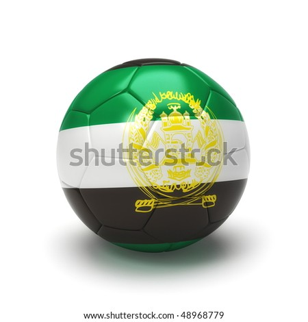 3D soccer ball with Afghanistan flag, world football cup 2010. Isolated on white - stock photo