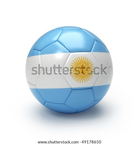 3D soccer ball with Argentina team flag, world football cup 2010. Isolated on white