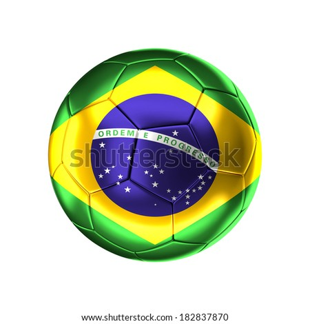 3d soccer ball with brazilian   flag isolated on white - stock photo