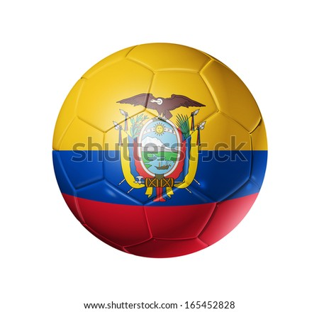 3D soccer ball with Ecuador team flag, football concept. isolated on white with clipping path - stock photo
