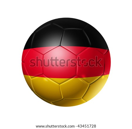 3D soccer ball with Germany team flag, world football cup 2014. isolated on white with clipping path - stock photo