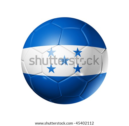 3D soccer ball with Honduras team flag, world football cup 2014. isolated on white with clipping path - stock photo