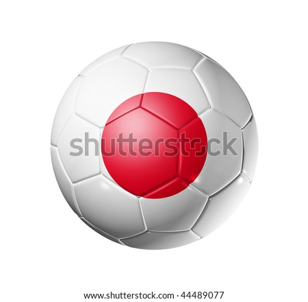 3D soccer ball with Japan team flag, world football cup 2014. isolated on white with clipping path
