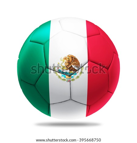 3D soccer ball with Mexico team flag, isolated on white - stock photo