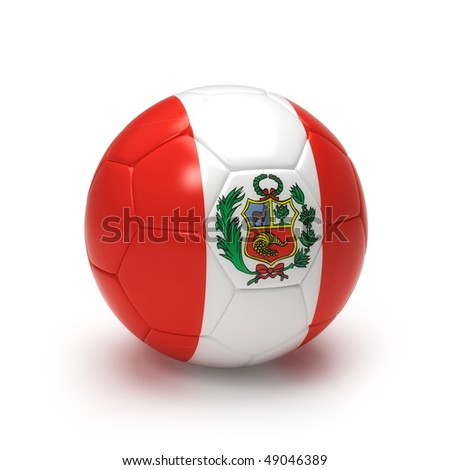 3D soccer ball with Peru flag, world football cup 2010. Isolated on white - stock photo