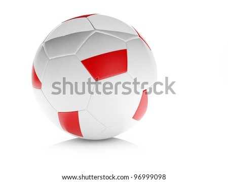 3d soccer ball with Polish flag, isolated white. Part of collection set - stock photo