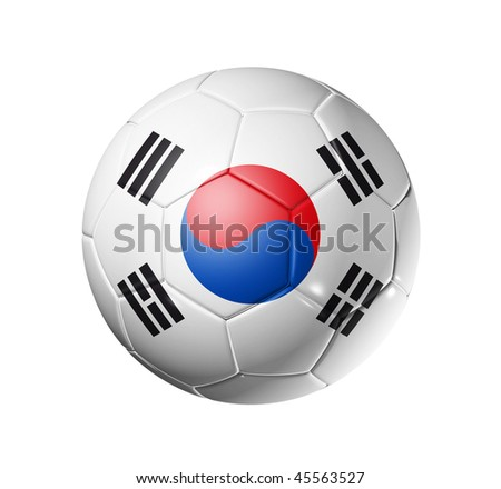 3D soccer ball with south Korea team flag, world football cup 2014. isolated on white with clipping path