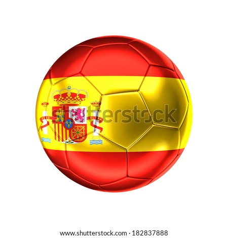 3d soccer ball with spain flag isolated on white - stock photo