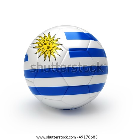 3D soccer ball with Uruguay flag, world football cup 2010. Isolated on white - stock photo