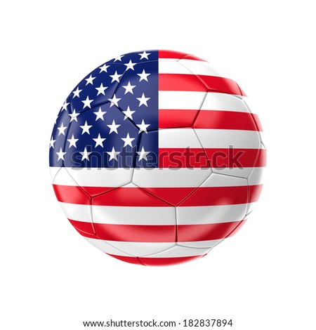3d soccer ball with usa flag - stock photo