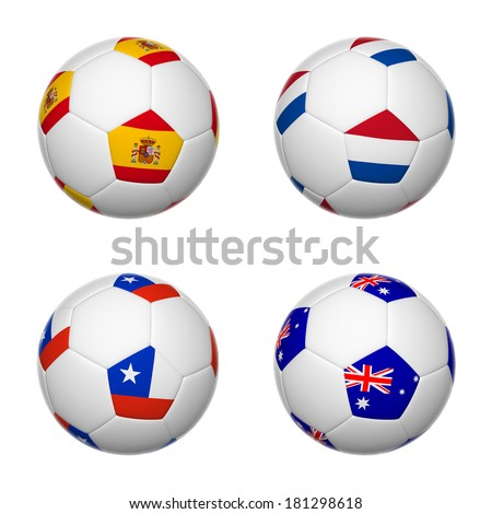 3D soccer balls of group B teams flags, Brazil 2014. isolated on white.