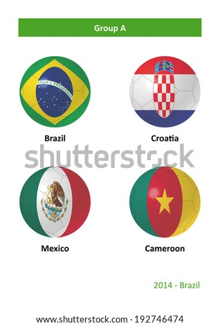 3D soccer balls with group A country flags Football Brazil 2014 - stock photo