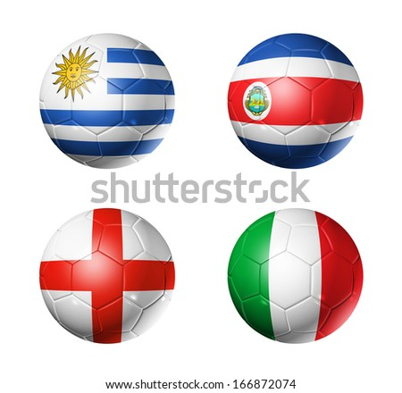 3D soccer balls with group D teams flags, Football Brazil 2014. isolated on white - stock photo