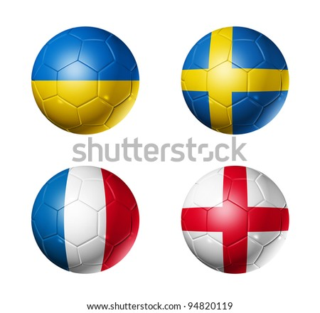 3D soccer balls with group D teams flags. UEFA euro football cup 2012. isolated on white - stock photo