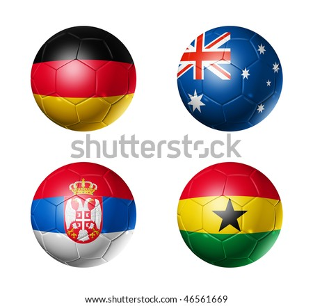 3D soccer balls with group D teams flags, world football cup 2010. isolated on white - stock photo
