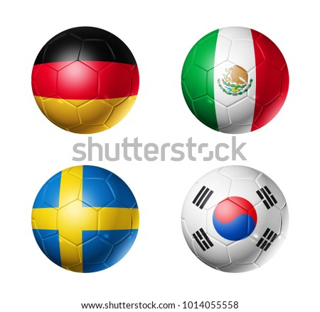 3D soccer balls with group F flags,  isolated on white