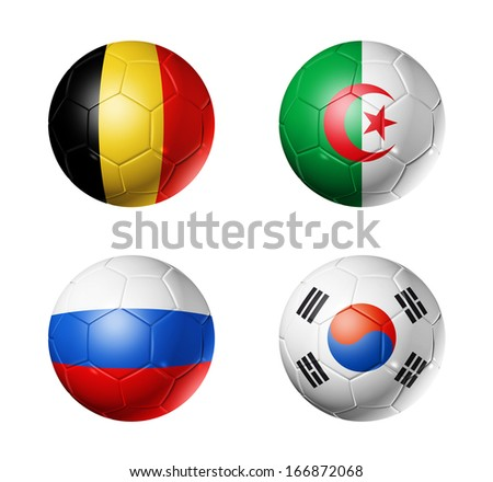 3D soccer balls with group H teams flags, Football Brazil 2014. isolated on white - stock photo