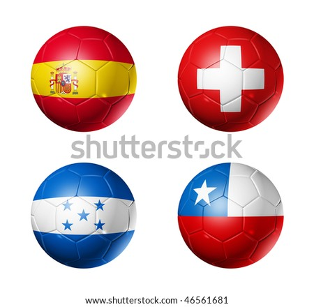 3D soccer balls with group H teams flags, world football cup 2010. isolated on white - stock photo