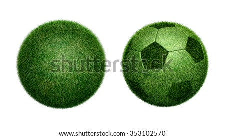 3D Soccer or Football with Grass Sphere design symbol, object Isolated