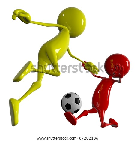 3D Soccer players running after the ball - stock photo