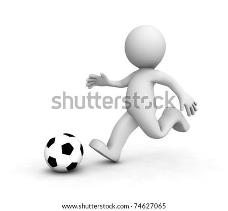 3D Soccer players running after the ball. Isolated - stock photo