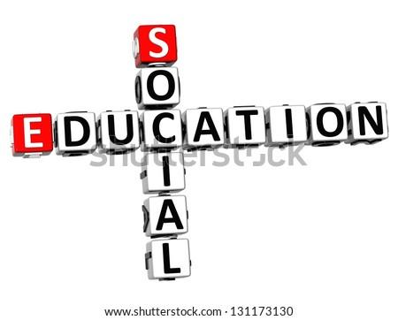 3D Social Education Crossword on white background - stock photo