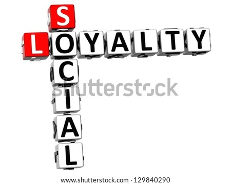 3D Social Loyalty Crossword on white background - stock photo