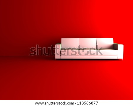 3d sofa in red room