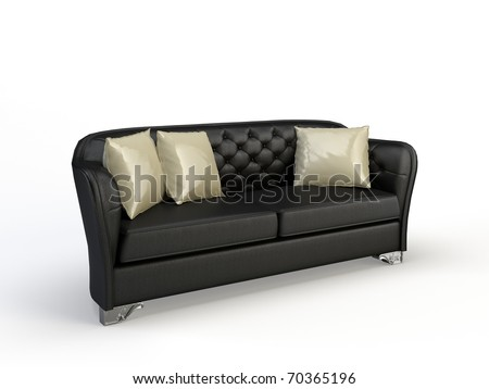 3d sofa on the black background