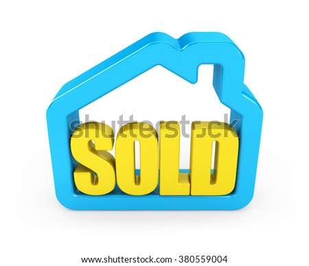 3D sold text in house. Icon isolated on white background. - stock photo