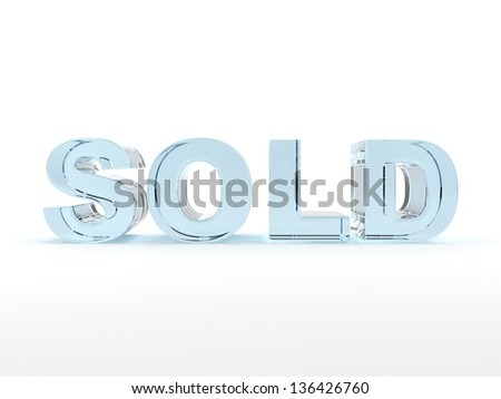 3D sold text med of glass