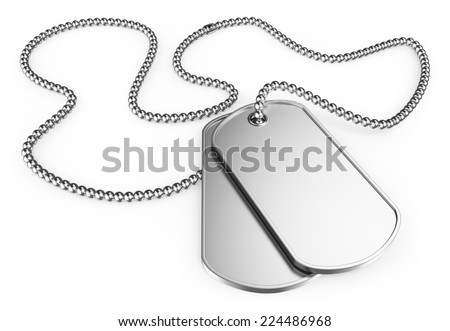 3d soldier dog tags. Isolated white background. - stock photo