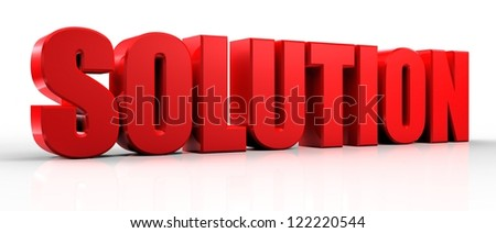 3d Solution text isolated over white background