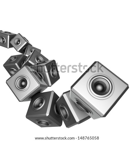 3d sound system woofer abstract dj deejay set - stock photo