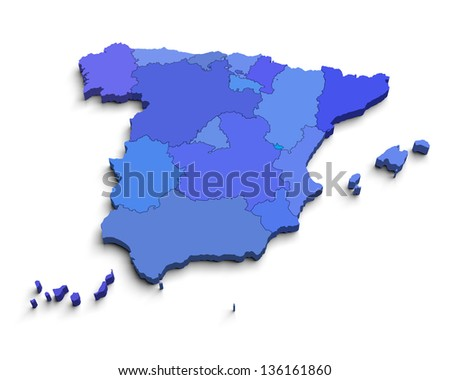 3d Spain blue map on white isolated - stock photo