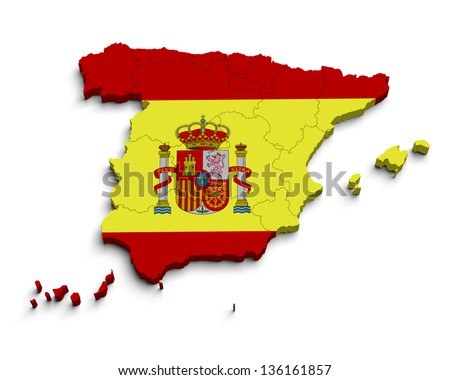 3d Spain flag map on white isolated