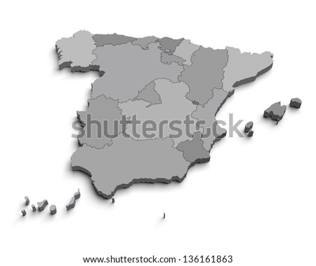 3d Spain gray map on white isolated
